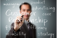 Man writing customer relationship concept