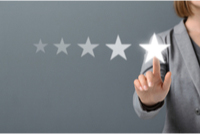 Person selecting virtual five-star review